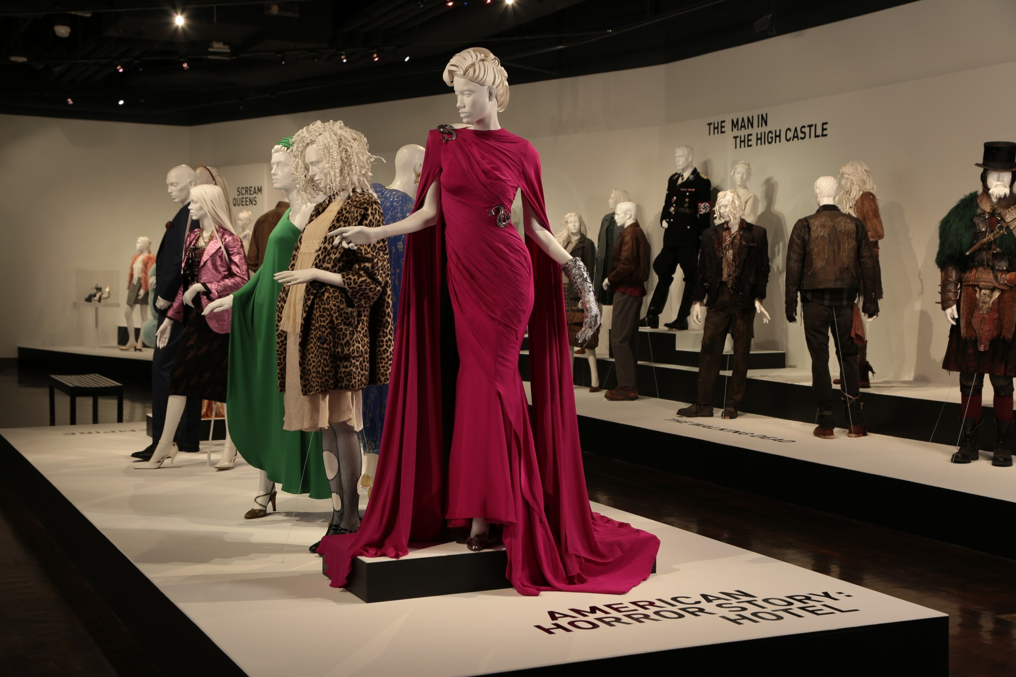 """American Horror Story: Hotel"" costumes, by Costume Designer, Lou Eyrich, nominated for the 2015-2016 Emmy Award for Outstanding Costume Design. These costumes can be seen in the 10th annual ""Art of Television Costume Design"" exhibition in the FIDM Museum at the Fashion Institute of Design & Merchandising, Los Angeles. (L to R) Costumes worn by actors: Lady Gaga as The Countess, Matt Bomer as Donovan, Denis O'Hare as Liz Taylor. (Photo: Benjamin Shmikler/ABImages)"