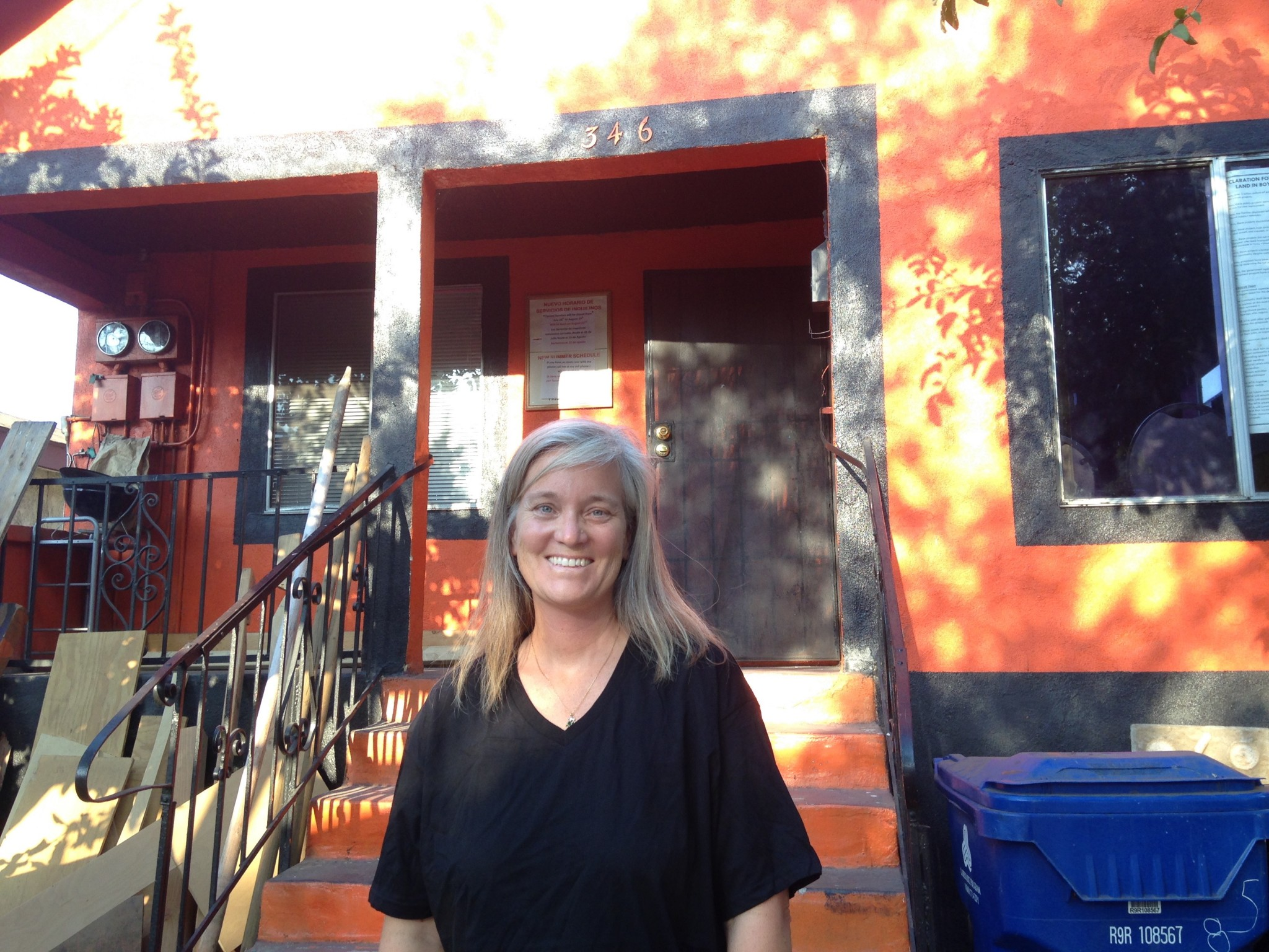 Elizabeth Blaney, co-founder of Union de Vecinos, in front of the group's office in Boyle Heights. Photo by Avishay Artsy.