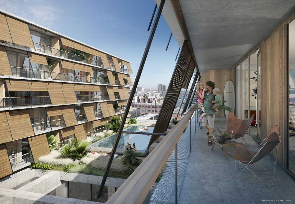 Rendering of lower-rise residential units at 6AM (courtesy Herzog and de Meuron.)