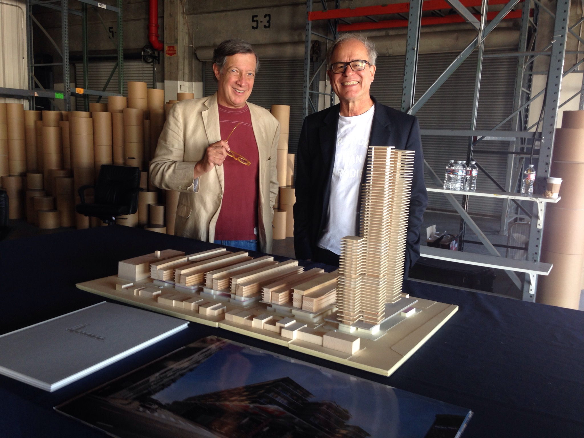 Dan Rosenfeld, left, and Pierre de Meuron, with the model of the proposed 6AM development at 6th and Alameda in the Arts District.