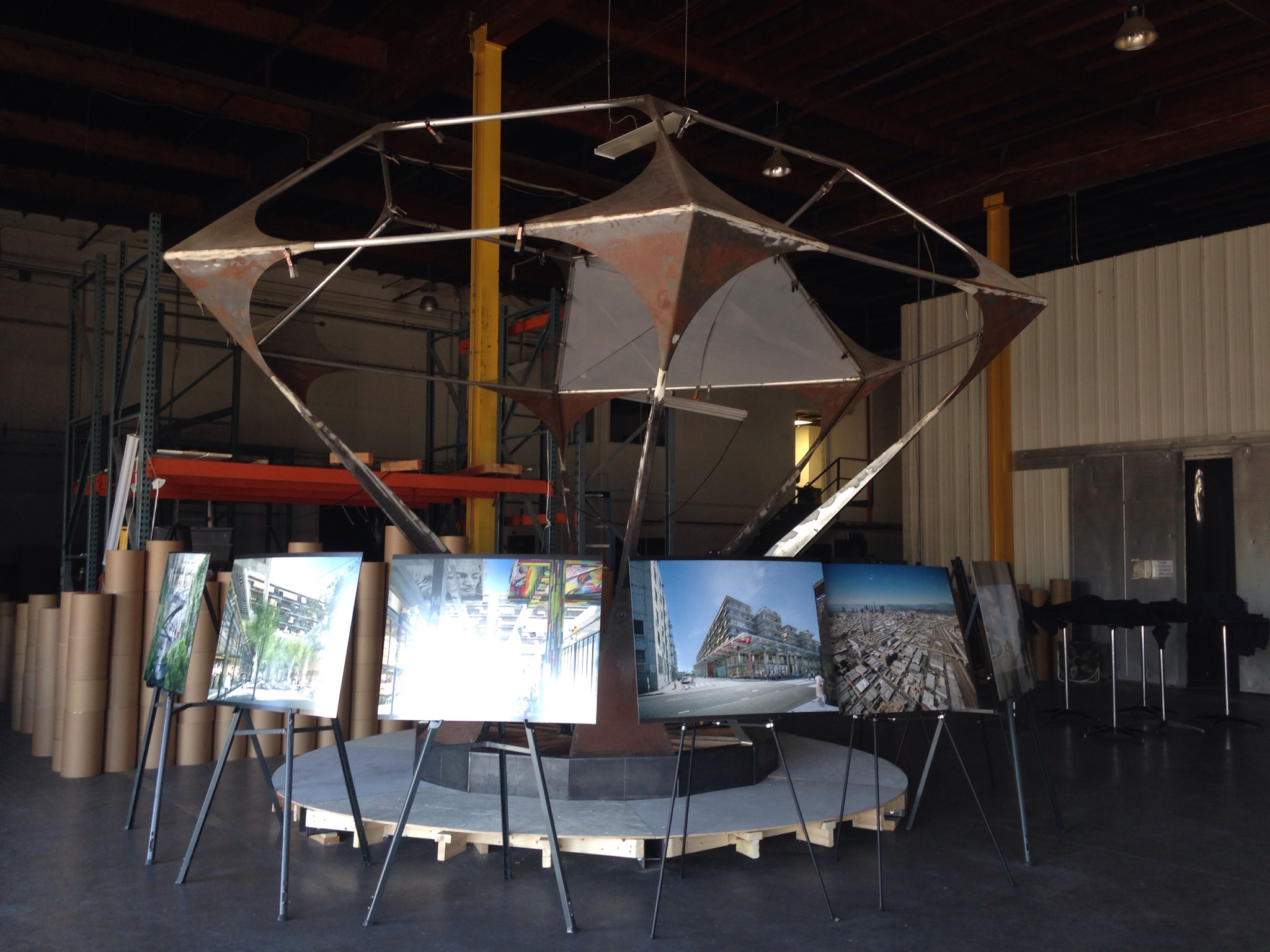 Renderings of 6am on display in the alameda/6th warehouse (photo: Frances Anderton)