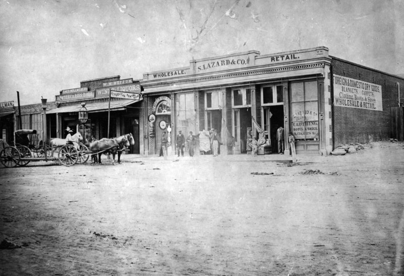 Main Street Los Angeles, 1886. The store of Jewish pioneer Solomon Lazard.