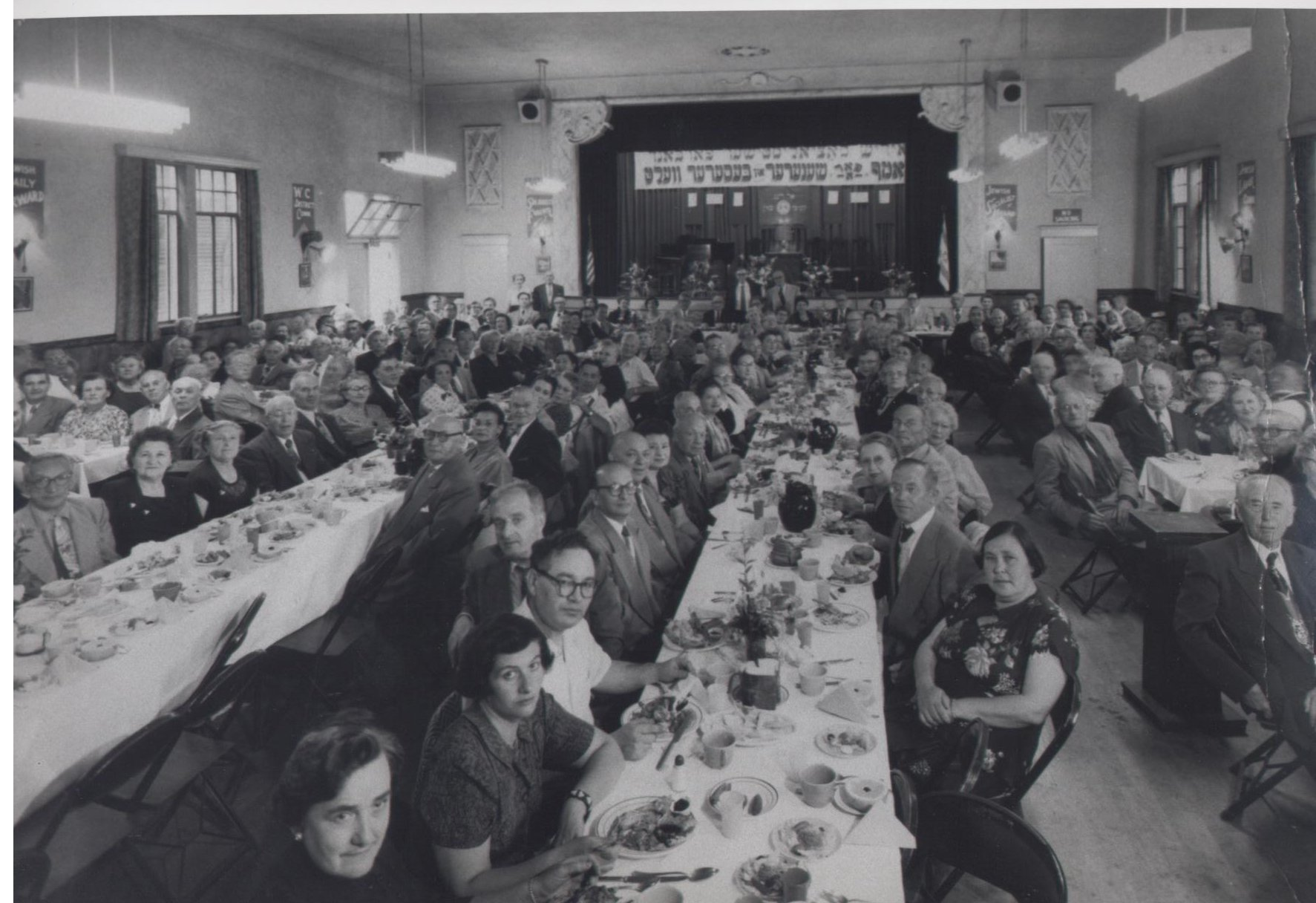 A banquet at the Vladeck Center in the Boyle Heights section of East Los Angeles, c. 1950. Photo courtesy of the Los Angeles WC/AR.