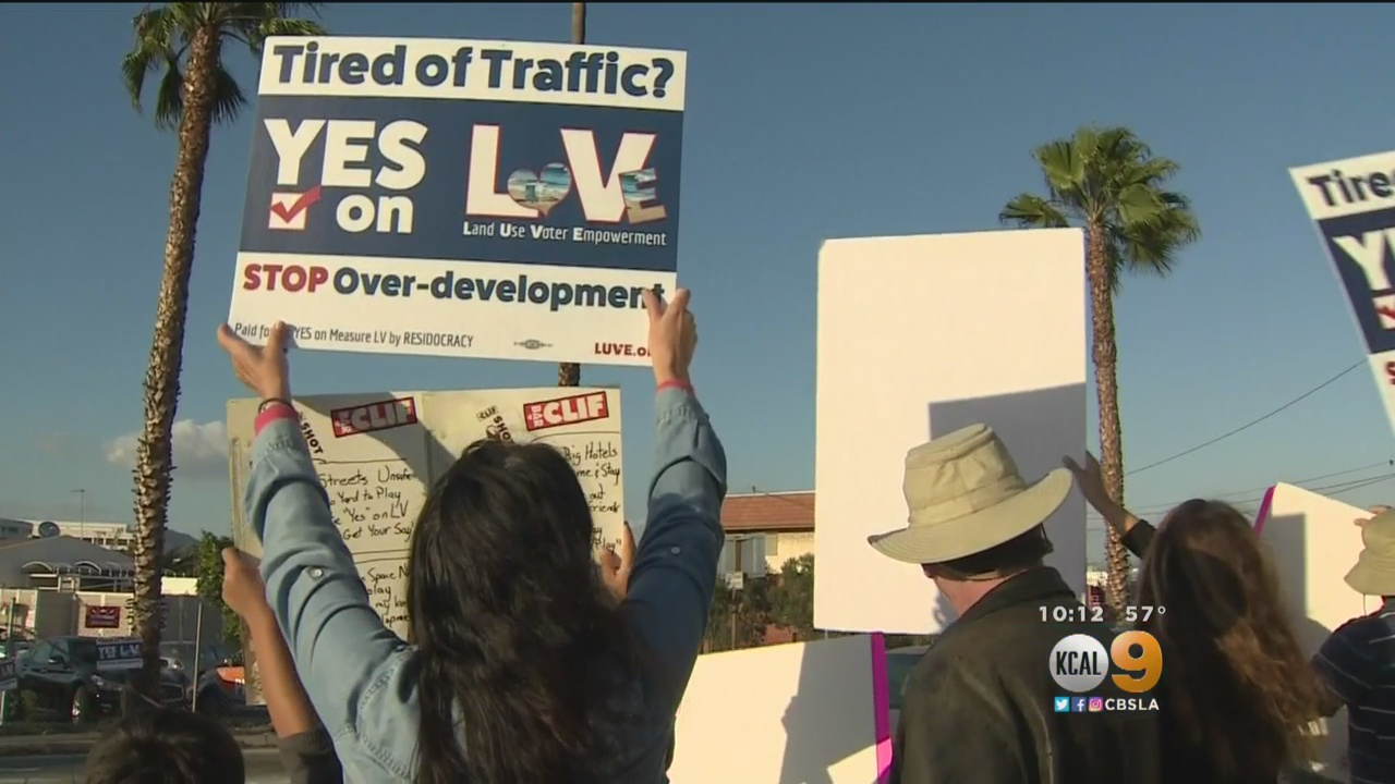 Measure LV supporters in Santa Monica. Photo courtesy KCAL 9.