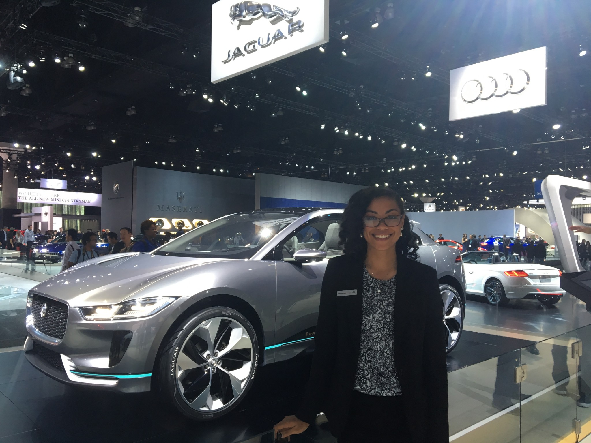 Maria Rodriguez with Jaguar Land Rover, in front of the new I-Pace electric concept car.