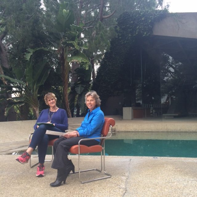 Bette Jane Cohen sits with Helen Arahuete, longtime architect in the firm of John Lautner.