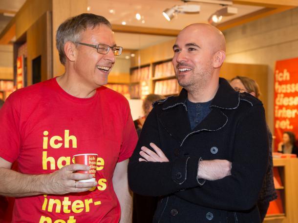 Jarett Kobek and Hans-Jürgen Balmes, director of international literature at Frankfurt Book Fair. Photo by Andreas Pleines.