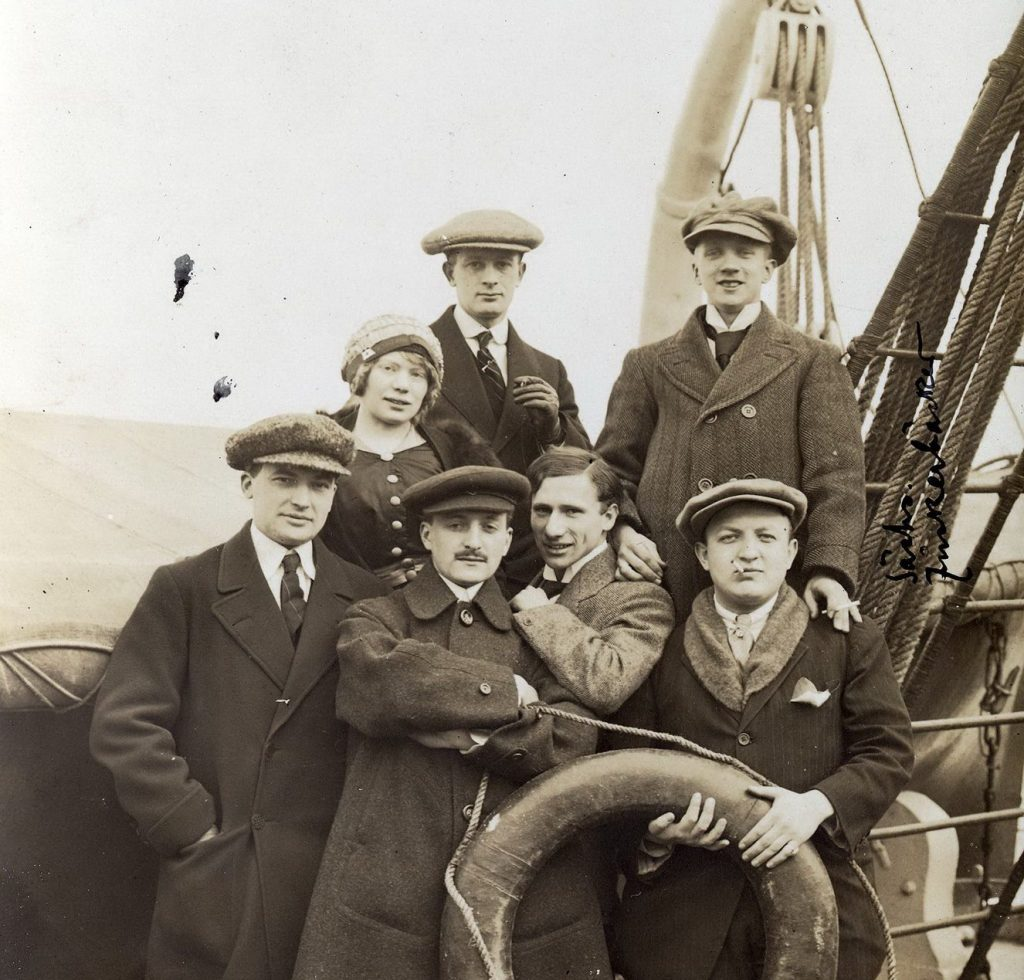 Photo shows architect R.M. Schindler (front row, second from left) aboard the Kaiserin August Viktoria en route to the United State, March 1914. Schindler was the first modern architect of note to work in Silver Lake.
