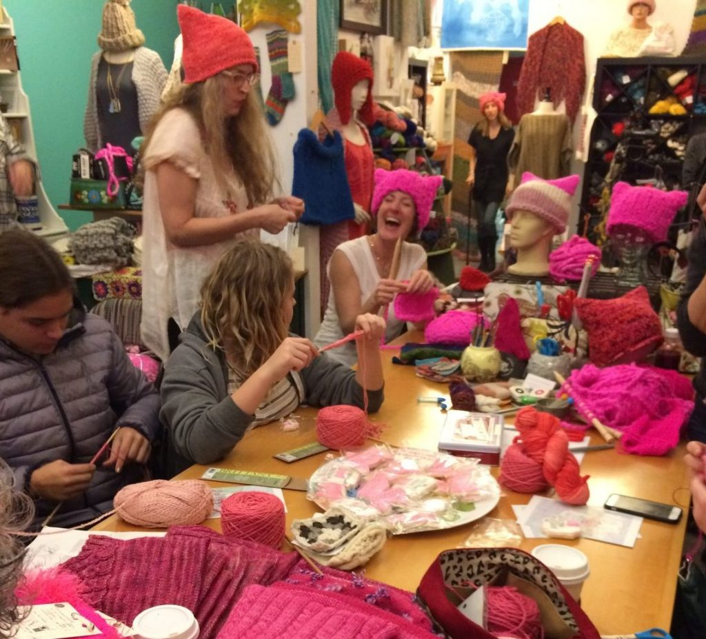 Knitters making pussyhats at The Little Knittery photo: Sedda Wuller)
