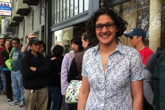Bake Sale for Japan organizer Samin Nosrat beside a long line at Piazziolo.
