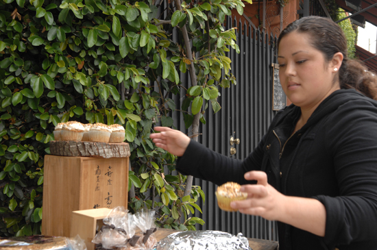 LA Bakesale for Japan organizer Breanne Varela setting up shop at the Forage location.