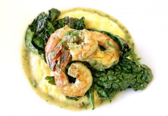Shrimp and grits with dinosaur kale (Mel Melcon / Los Angeles Times)