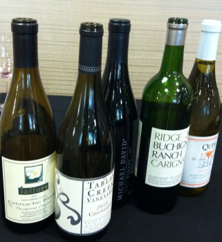 Bottles from the rare wines tasting