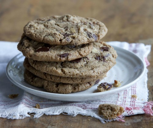 Chocolate chip cookies with hazelnuts crop