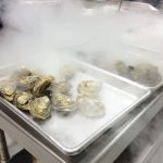 oysters with liquid nitrogen