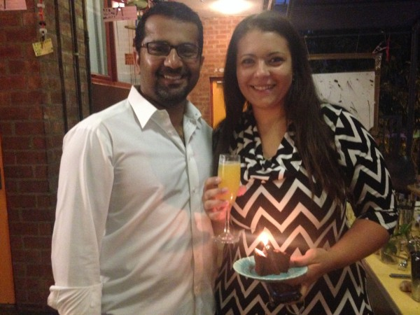 Sani Abdul-Jabbar, left, and Aziza Hasan enjoy their non-alcoholic cocktail - with a slice of birthday cake.