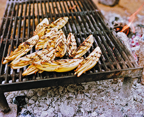 On the grill: Belgian endive with fresh turmeric and walnuts. The ...