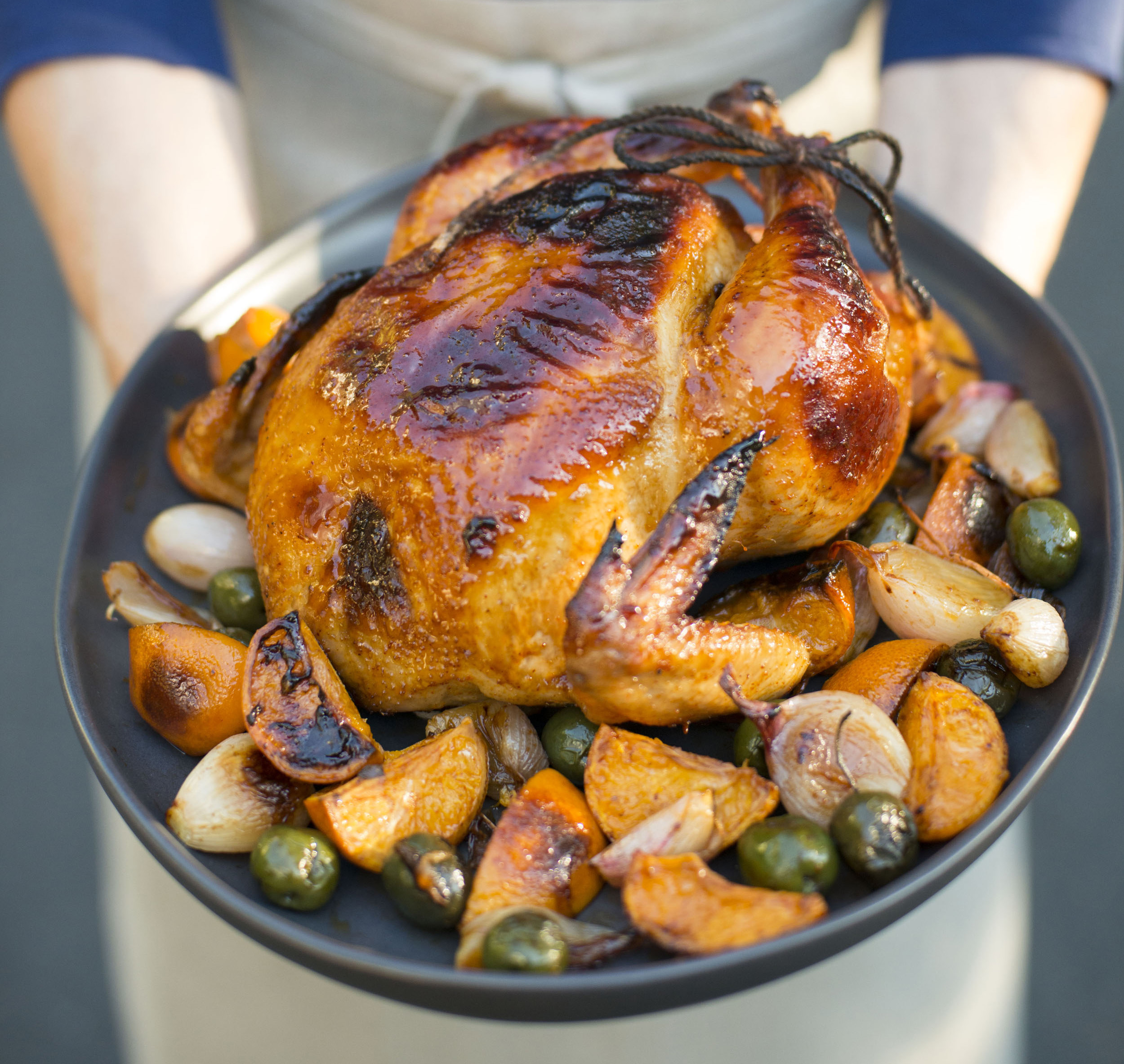 Roast Chicken with Tangerines, Green Olives & Silan