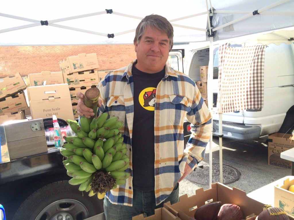 Andy Shaeffer, of Vista Punta Gorda, can hardly contain his excitement. It's his first day at the Wednesday Market.