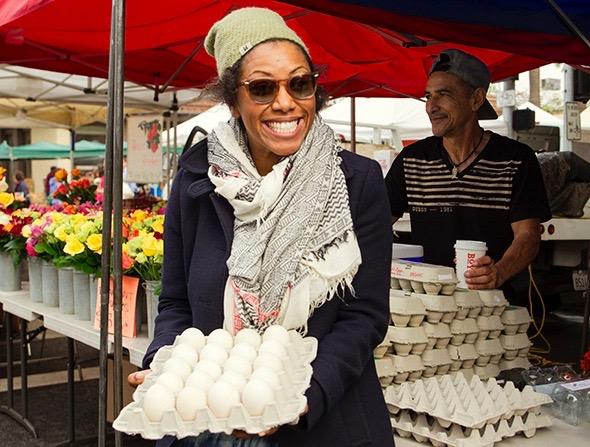 Nyesha Arrington replenishises her duck egg stock