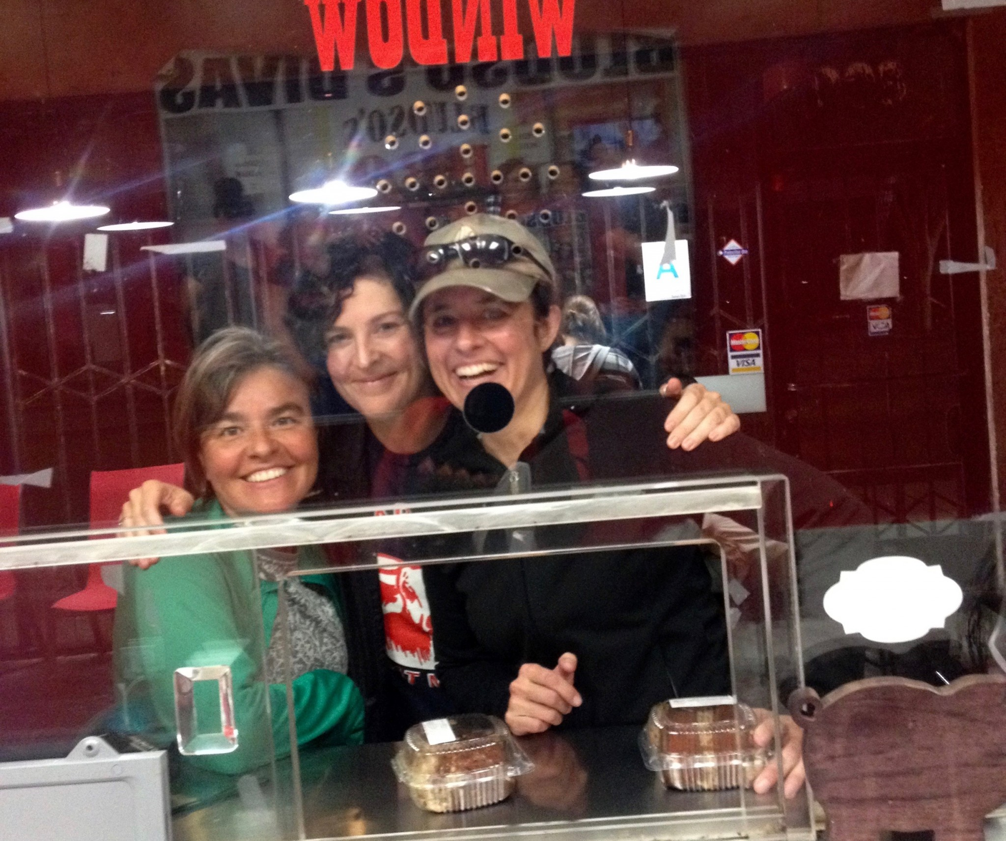 A kind lady working the counter at Bludso's took this shot of us with the German chocolate cake we got to chase our post-run BBQ rib tips.