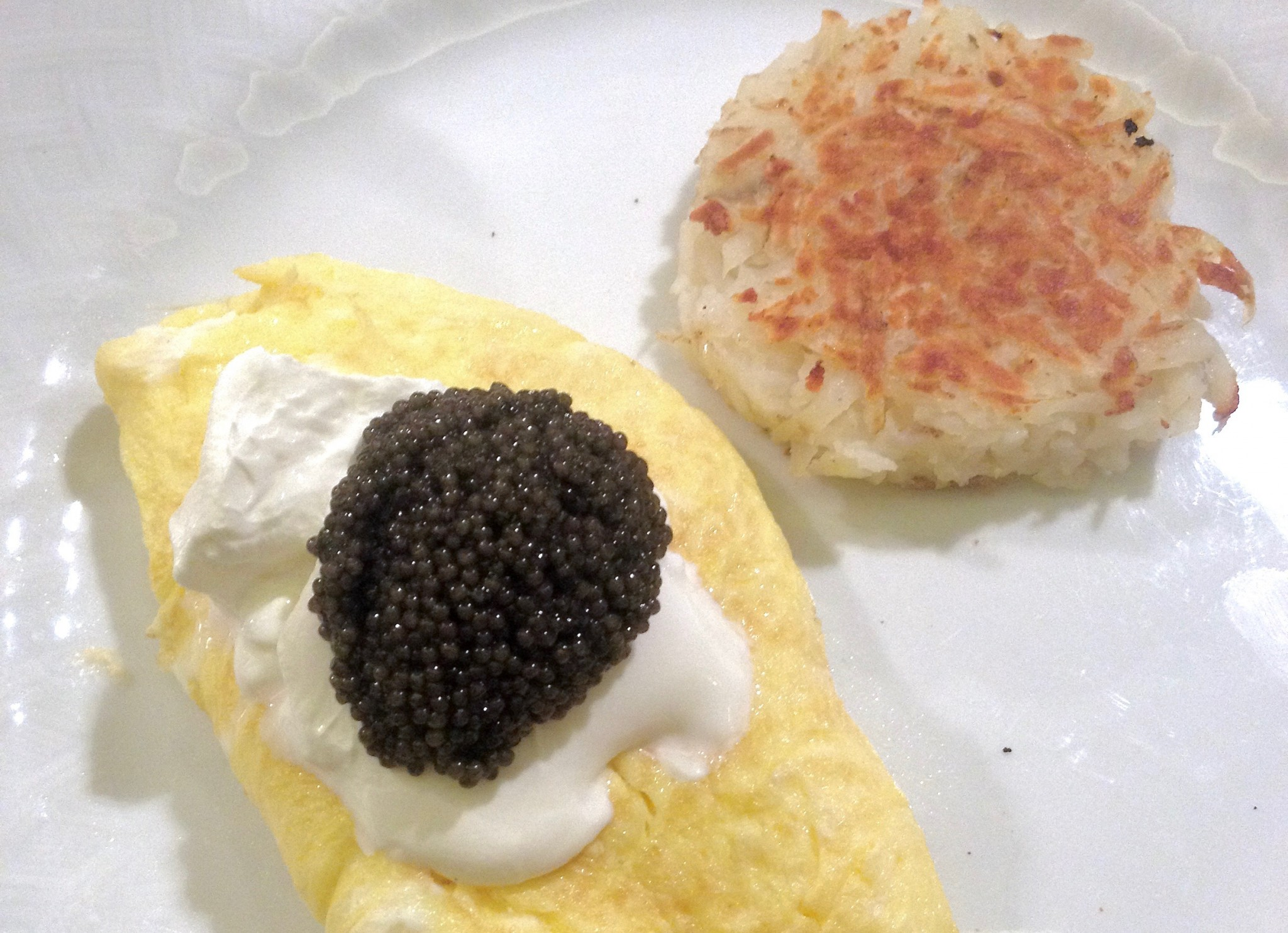 The sour cream and caviar omelet at the Fountain Coffee Shop at the Beverly Hills Hotel.