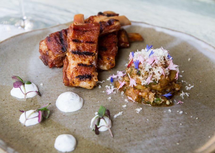 Gwen's Smoked lamb ribs with eggplant and yogurt sauce