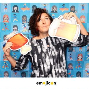 At Emojicon, attendees were encouraged to pose with props depicting their favorite emoji. I couldn't find the fried chicken drumstick, so settled for 🍺 and 🍖.