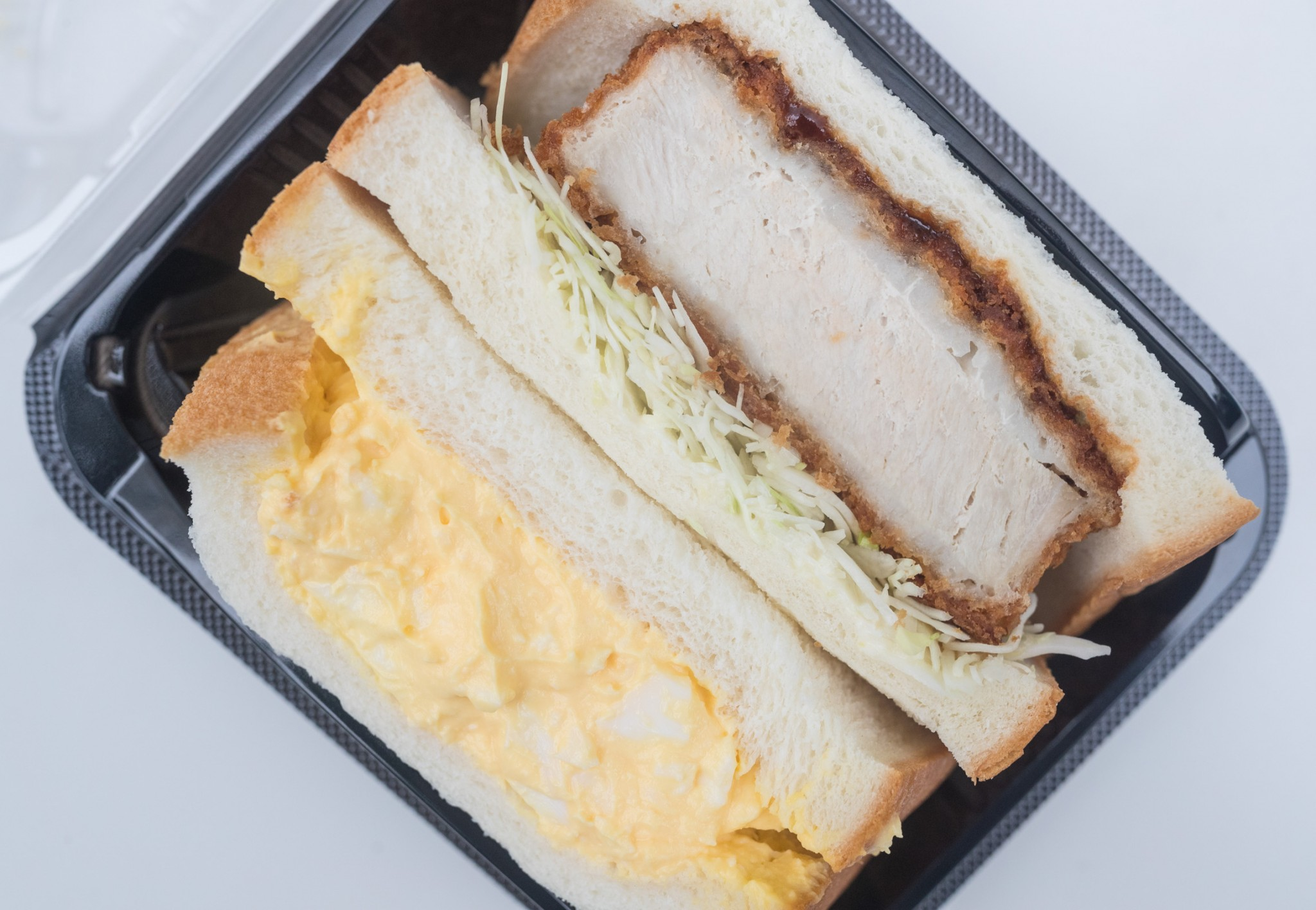 At Lawson, there is no shortage of freshly made sandwiches for sale. At the top of our list: The pork cutlet and egg salad sandwich combo.