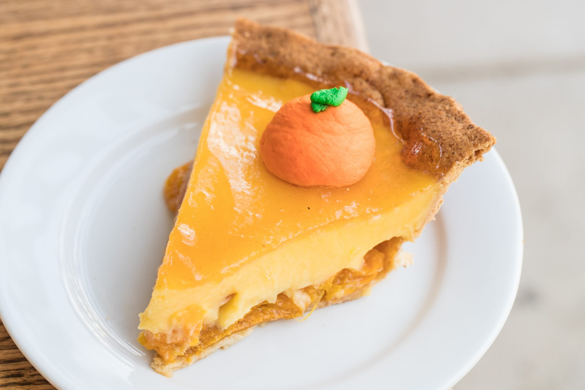 The tangerine pie at Cassell's includes candied whole clementines and clementine curd.