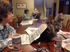 Pam, Bob, Molly on a Sunday morning 2013 (1)