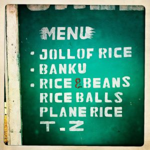 Ghanain restaurant menu. Photo by Rachel Strohm (CC BY-ND 2.0) via Flickr