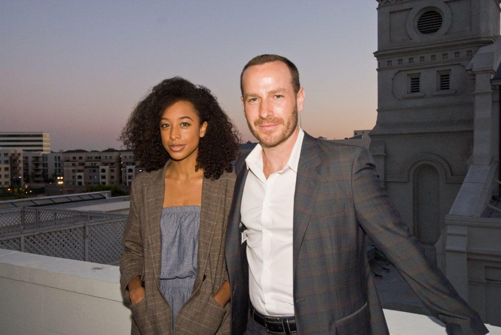 Corinne and Jason on Vibiana rooftop by Jonathan Kalan