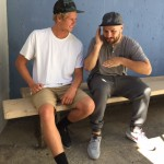 DJ Anthony Valadez (r) shows John John Florence (l) how a real DJ does it.