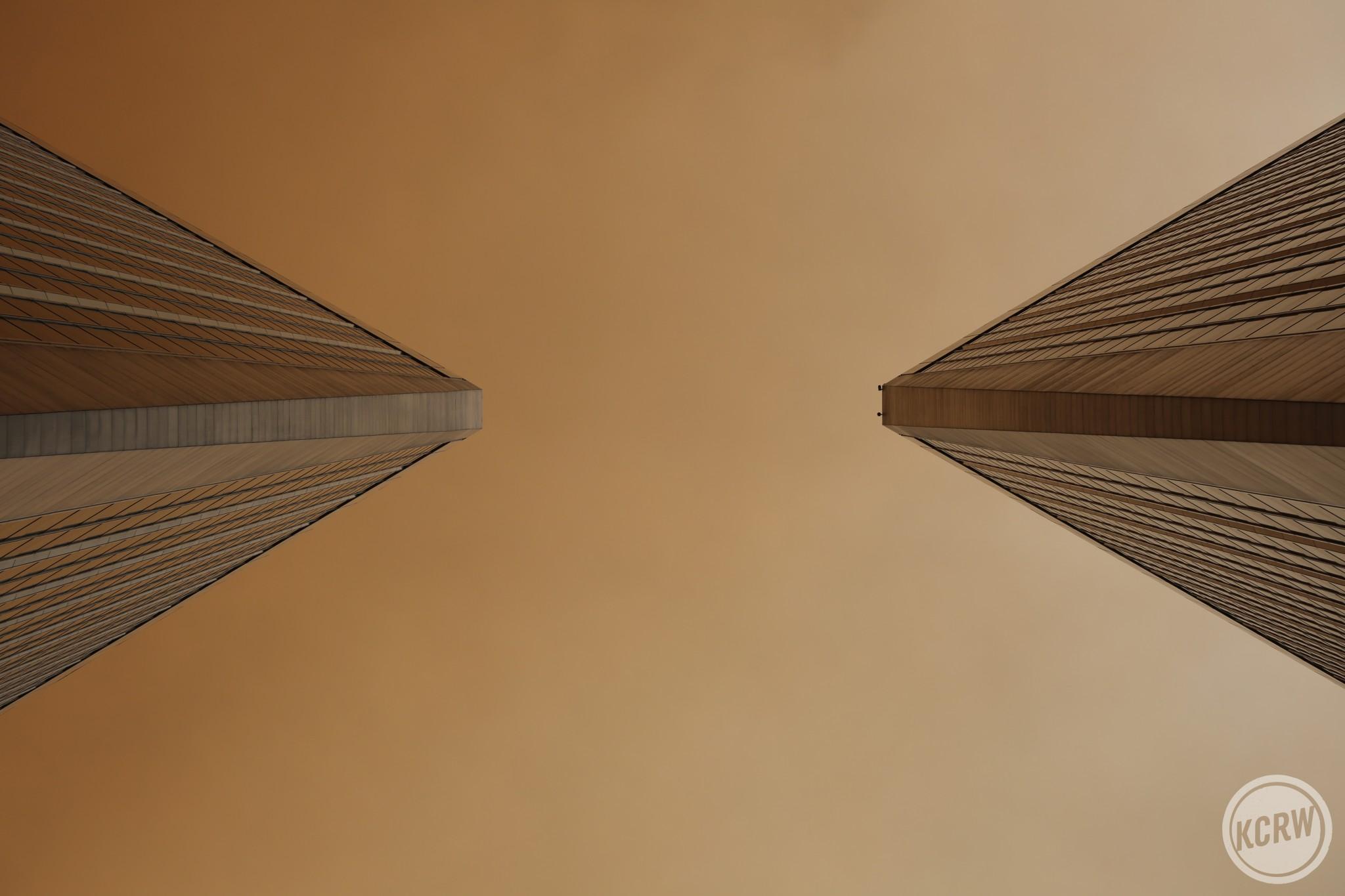 Century City Park's twin towers cutting through the smokey air.