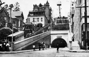Angels Flight; c. 1905, View with the Third Street Tunnel and an observation tower