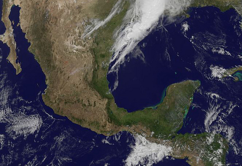 Just after a major earthquake occurred in southwestern Mexico on March 20,2012, NASA produced a satellite view of the region