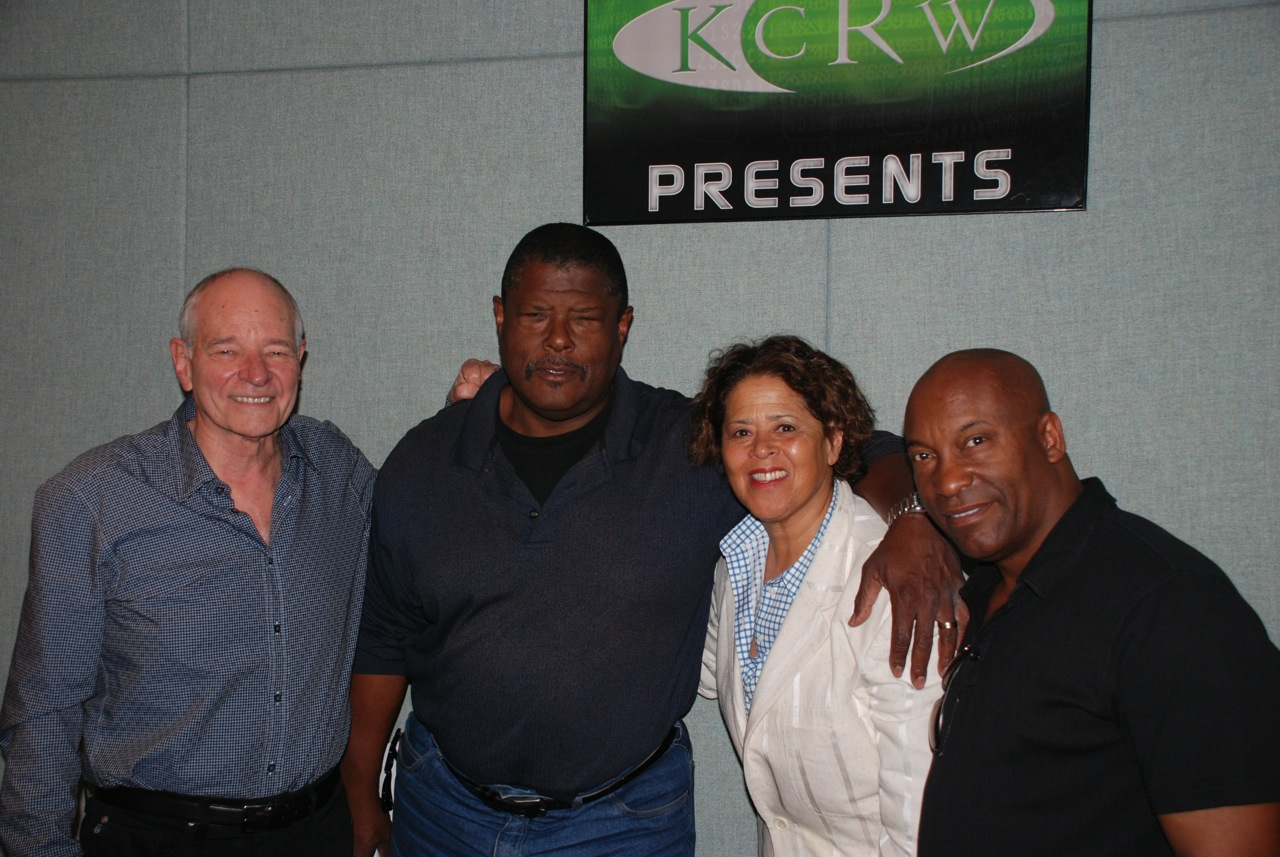 Warren Olney, Greg Phillips, Anna Deavere Smith and John Singleton at KCRW