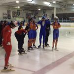 Wilma Boomstra and speed skaters at the Glacial Gardens arena in Lakewood. Photos by Matt Holzman.