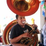 Julian Gonzalez in Santa María Tavehua, Oaxaca jamming on tuba. Photo by Carmen Vidal