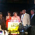 Jackie Lacey addresses a crowd at Union Station on Election Night. Photo by: Raghu Manavalan