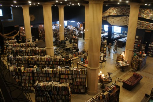 The Last Bookstore is located in an old bank building on the corner of 5th and Spring in DTLA. The massive floor space, tall columns and arched cieling give it a cathedral-like feel. Along with selling books, the store's also turned into a kind of community center for the growing downtown community, hosting musical performances, book and poetry readings, and neighborhood meetings. 