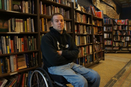 Josh Spencer is the founder and owner of The Last Bookstore. His dream was to always open up a brick and mortar new and used bookstore, as an expression of his love for literature. He's also designed the interior of the store, taking his inspiration from Steampunk and Hollywood movies. As you can see, Josh is wheelchair-bound, but he says that hasn't been an obstacle when it comes to running the store. He worries more about just keeping his head above water financially.