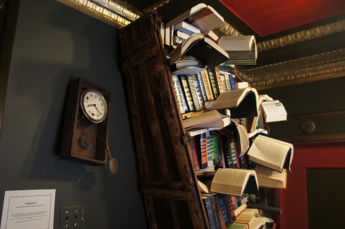 The store is filled with folk art, antiques and just weird things, like this shelf with books taking flight. Harry Potter or Dr. Who would feel very much at home here.