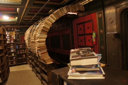The second-floor of The Last Bookstore is filled with design and decorating features, but the star attraction is this walk-through tunnel made from (what else?) books. Josh designed it himself with help from his dad.