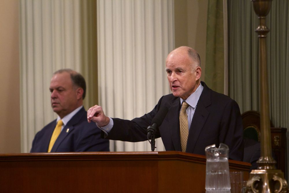 Governor Jerry Brown delivering his 2013 State of the State address. Photo by Andrew Nixon/Capital Public Radio