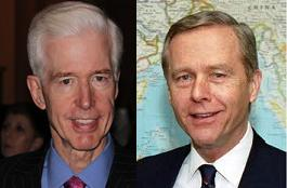 Former Calif. Governors Gray Davis, left, and Pete Wilson