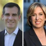 LA mayoral candidates Eric Garcetti, left, and Wendy Greuel
