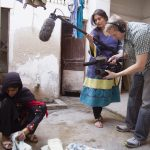 Production still from &quot;Saving Face.&quot; (L-R) Zenub, Sharmeen Obaid-Chinoy &amp; Daniel Junge