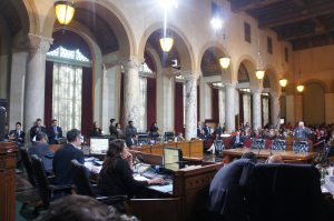 Just a few steps away from the L.A. mayor's office in City Hall is the Los Angeles City Council chamber. There are 15 people on the City Council, and they have formidable powers that L.A. mayors have to face, such as the power to reject the mayor's budget.
